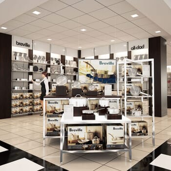 photo-realistic computer-generated rendering of a Breville cookware display at Bloomingdale's