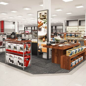 photo-realistic computer-generated rendering of a Anolon cookware display at Macy's