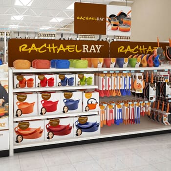 photo-realistic computer-generated rendering of a Rachael Ray cookware display at Walmart