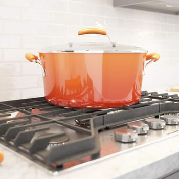 3D rendering showing an orange Rachael Ray stockpot