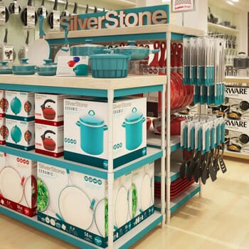 photo-realistic computer-generated rendering of a SilverStone cookware display at Macy's