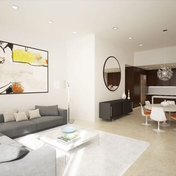 photo-realistic computer-generated rendering of a contemporary style residence living room